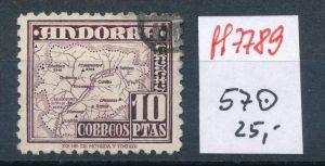 Spanisch Andorra  Nr.  57  hoher Dauerserien Wert      o    (ff7789 ) siehe scan