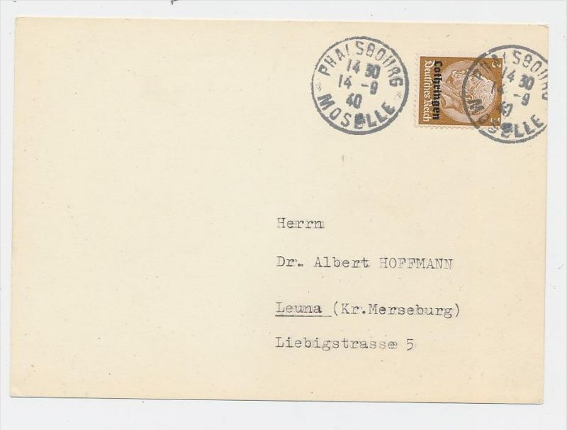 Lothringen- Stempel Beleg...  (be6022) siehe scan !