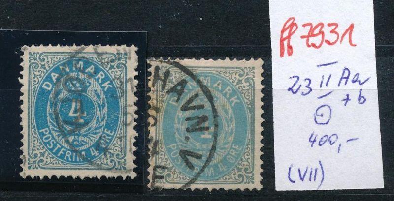 Dänemark  Nr. 23 II Aa+b    o( ff7931    ) siehe scan-vergrößert