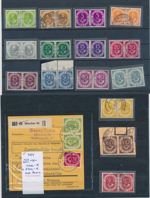 BRD -Paare-Posthornserie    o  90 Pf auf Paketkarte !!!  3600,- Euro Michel   ( p4034 )  siehe scan....
