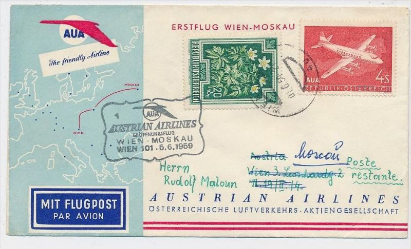 Österreich -Flugpost Beleg    ( be8129  ) siehe scan  !