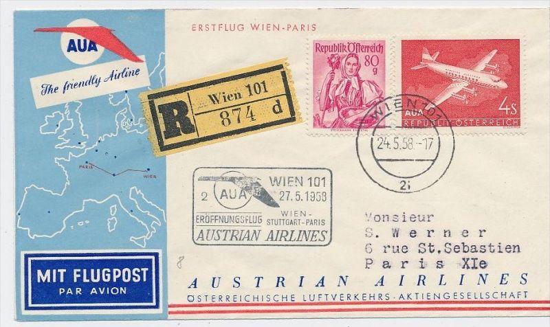 Österreich -Flugpost Beleg    ( be8158  ) siehe scan  !