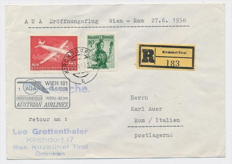 Österreich -Flugpost Beleg -  ( be8097  ) siehe scan  !