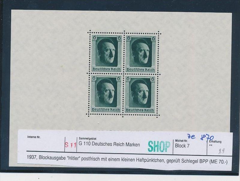 D.-Reich -Block 7  geprüft ( ze870  ) siehe scan  !