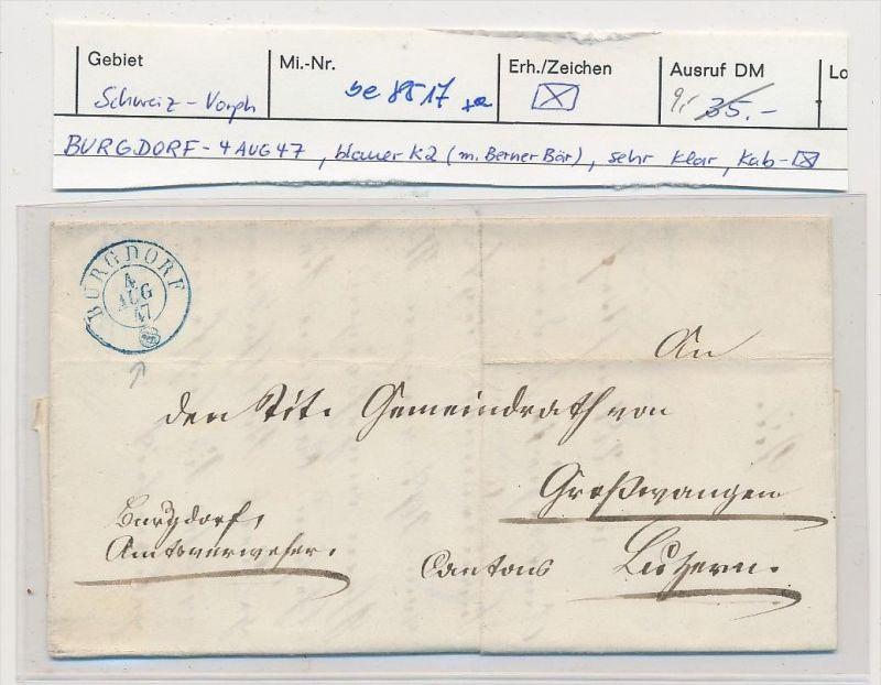 Schweiz -Altbrief - Burgdorf  (be8517 ) siehe scan