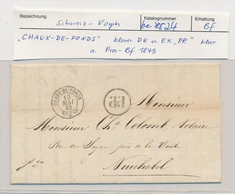 Schweiz -Altbrief -  Chaux de Fonds  (be8524 ) siehe scan