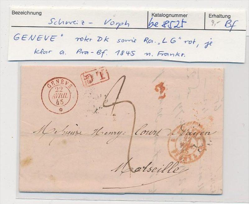 Schweiz -Altbrief -  Genf  (be8525 ) siehe scan