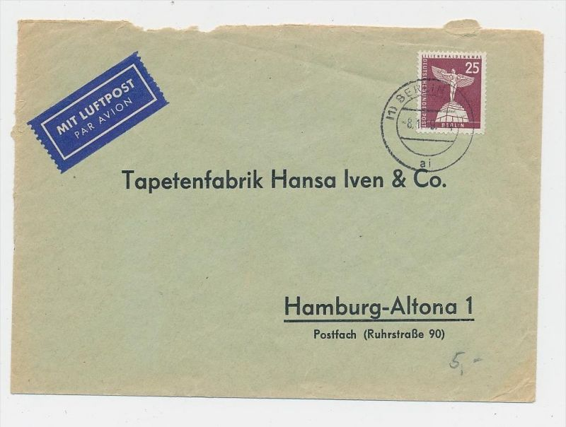 Berlin  netter Beleg  Luftpost  ( be7790 ) siehe scan