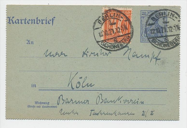 D.-Reich Infla -Stempel Beleg !  ( be7891 ) siehe scan  !