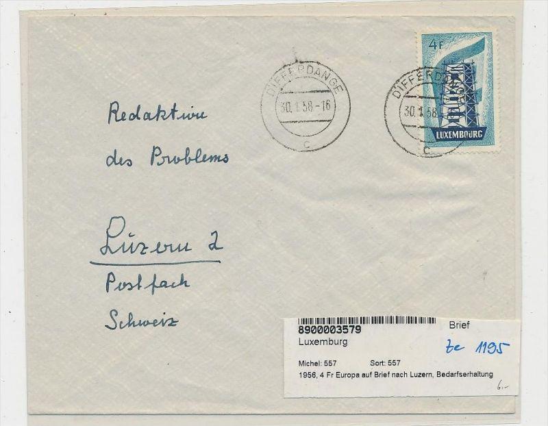 Luxemburg Brief In Die Schweiz Ef557 Ze1195 Siehe Scan Nr