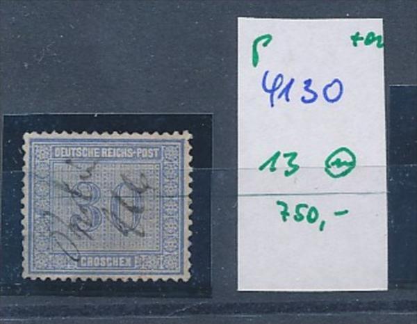 D.-Reich  Nr. 13  Federstrich-schönes Stück dieser schwierigen Marke   (p4130 ) siehe scan....