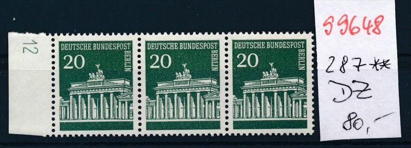 Berlin    Nr. 3x 287  DZ   **  (s9648  )  siehe Bild