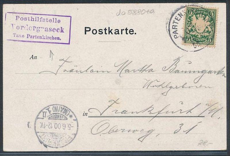 Bayern Karte Postilfsstelle  -Vordergraeck    (da5880 )  siehe Bild