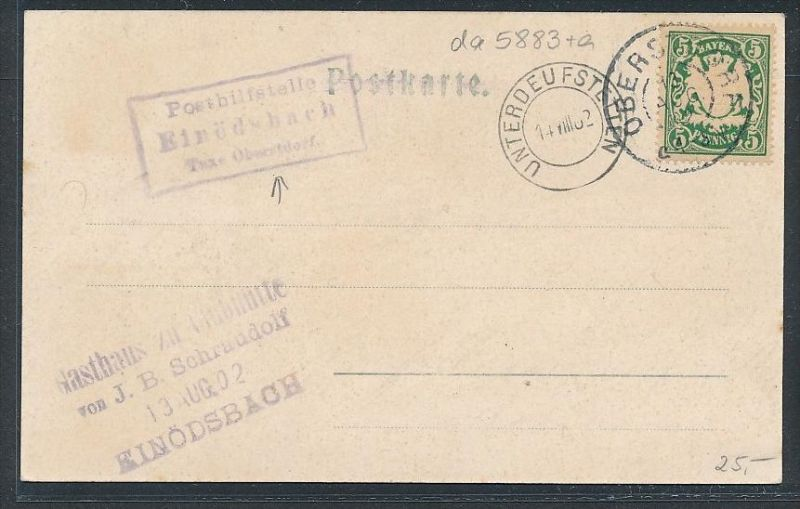 Bayern Karte Postilfsstelle  - Einödsbach   (da5883 )  siehe Bild