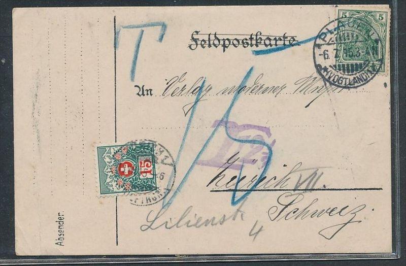 D.-Reich Karte mit Nachporto Schweiz     (g2144  )  siehe Bild