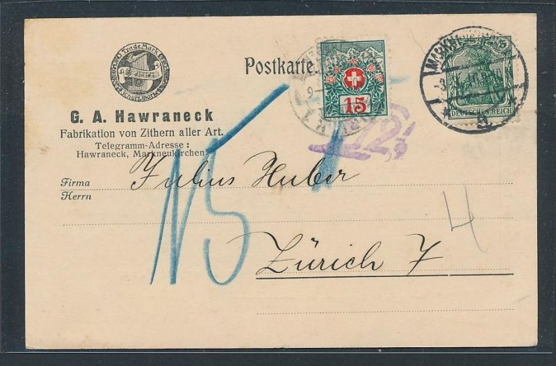 D.-Reich Karte  mit Nachporto Schweiz     (g2143  )  siehe Bild