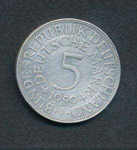 BRD-5,-D.-Mark   1959 J  Silber (x2011  )  siehe Bild