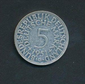BRD-5,-D.-Mark   1951 G  Silber (x2014  )  siehe Bild
