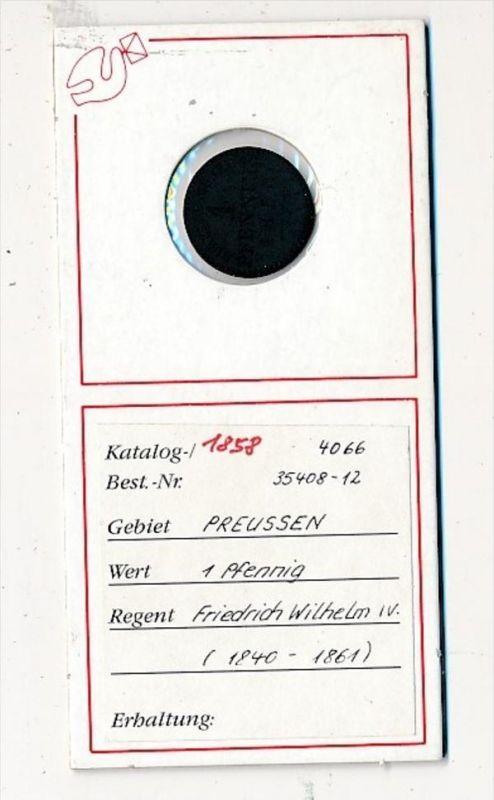Preussen- 1 Pfennig 1858    (x2100   )  siehe Bild