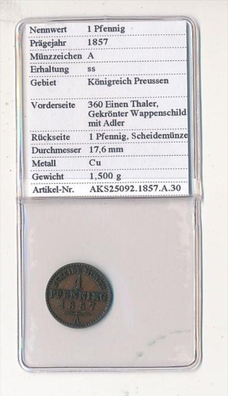 Preussen- 1  Pfennig   1857     (x2108   )  siehe Bild