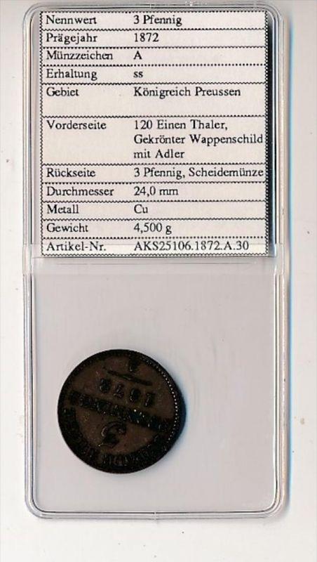 Preussen- 3  Pfennig   1872     (x2110   )  siehe Bild