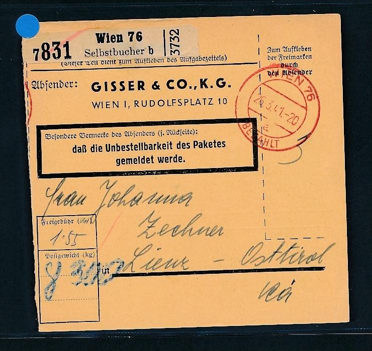 Österreich  -Paketkarte   ...  (g6097 -1)  siehe Bild