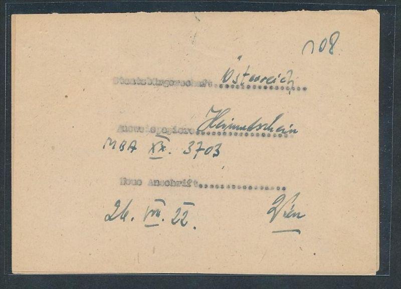 Österreich  -Heimkehrer Beleg     ...  (g6196  )  siehe Bild