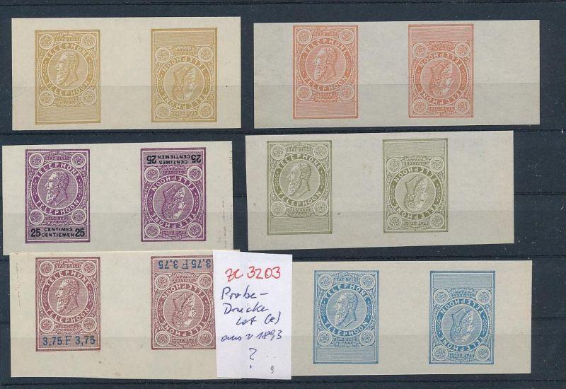 Belgien Lot  Probe- Kehrdrucke aus 1893  Telefon Marken  ( ze3203  )  siehe Foto