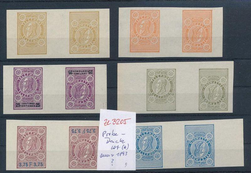 Belgien Lot  Probe- Kehrdrucke aus 1893  Telefon Marken  ( ze3205  )  siehe Foto