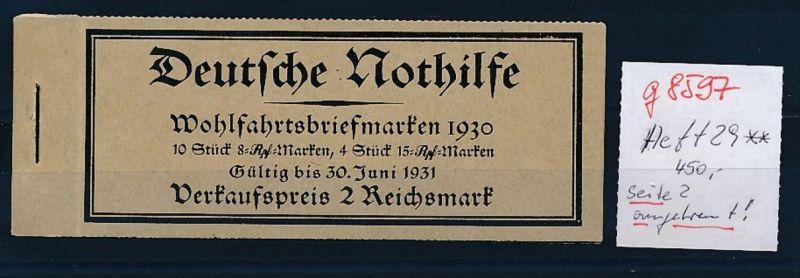 D.-Reich Heft  29   ** - Seite 2 angetrennt    (g8597   ) siehe Bild