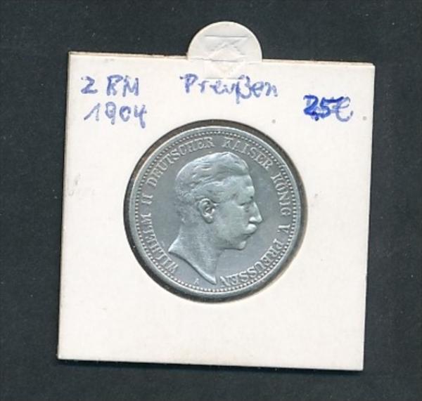 Preussen-Wilhelm  2,-Mark -Silber  1904 (x 2131  ) siehe Foto
