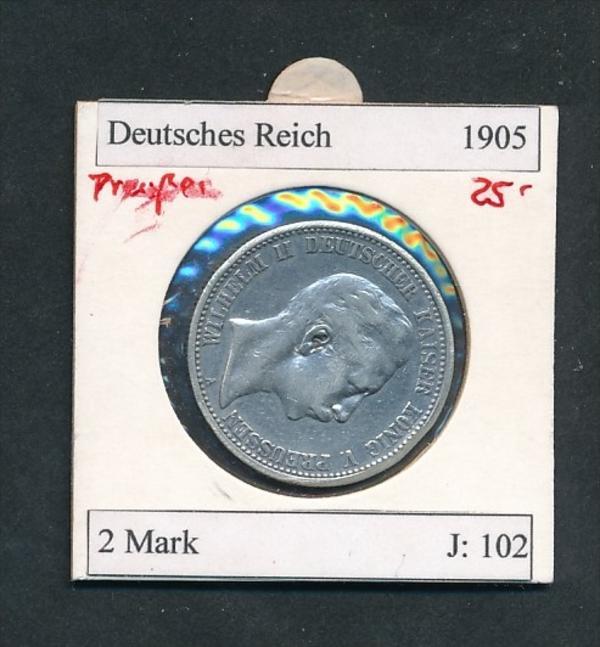 Preussen-Wilhelm  2,-Mark -Silber  1905 (x 2134  ) siehe Foto