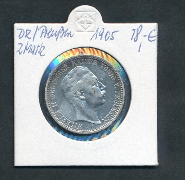 Preussen-Wilhelm  2,-Mark -Silber  1905 (x 2137  ) siehe Foto