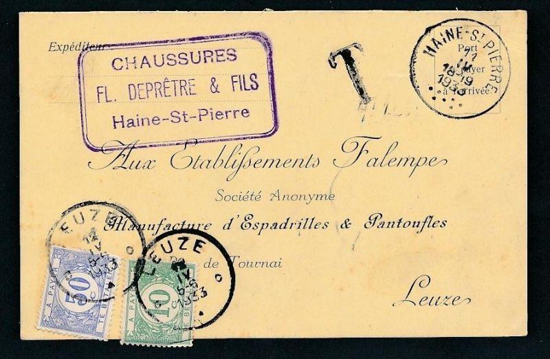 Belgien Nachporto   alte  - Karte       (g8276  ) siehe Bild !