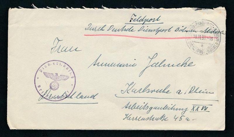 Feldpost  Beleg    -Böhmen + Mähren    (g9162   ) siehe scan