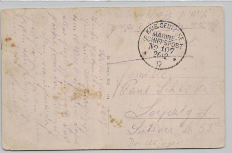Kaiserliche Mariene   Karte  -Stempel  Beleg   (k3186  ) siehe Bild !