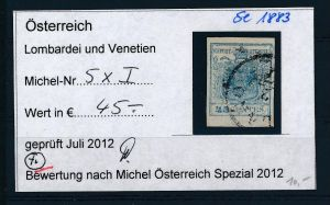 Österreich /Lombardei Nr. 5xI  o ( se1883  ) siehe Bild !