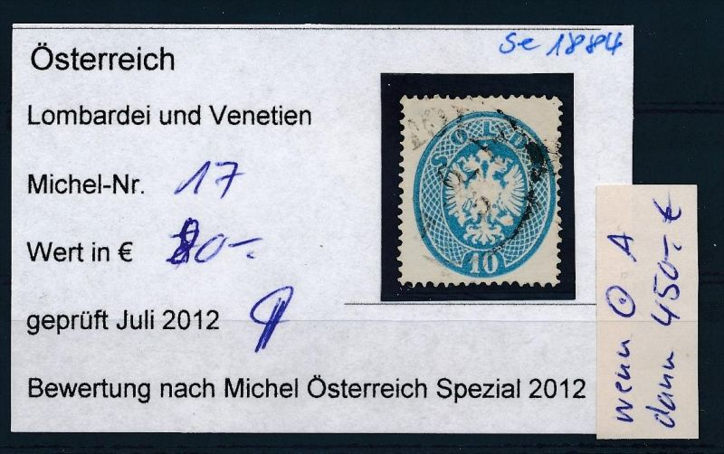 Österreich /Lombardei Nr. 17  o ( se1884  ) siehe Bild !