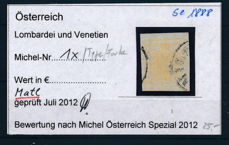 Österreich /Lombardei Nr. 1 x  Type ? o ( se1888  ) siehe Bild !