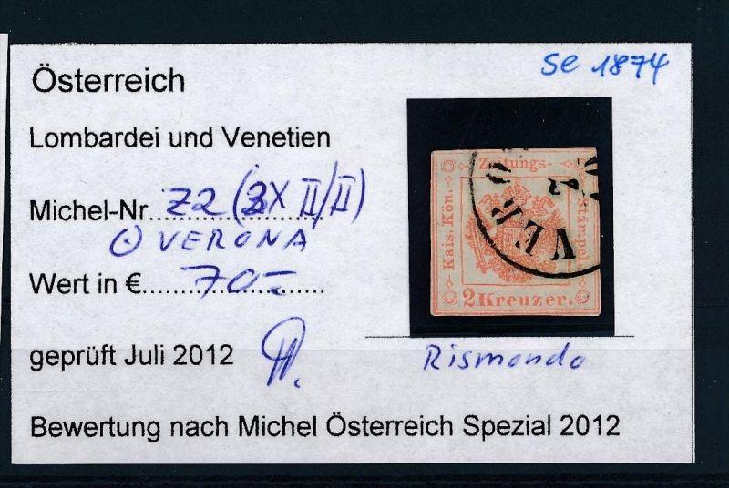 Österreich-Lombardei  Nr. Z 2  o  ( se1874   ) siehe Bild !