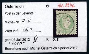 Österreich-Levante Nr . 2 II   ( se1946   ) siehe Bild  !