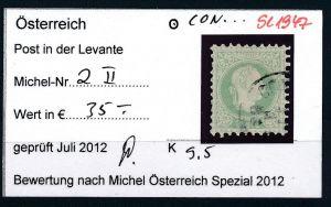 Österreich-Levante Nr . 2 II   ( se1947   ) siehe Bild  !