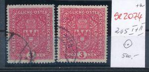 Österreich- Nr. 205 I+II o     ( se2074  ) siehe Bild  !