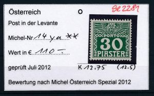 Österreich -Levante Nr. P14ya  ** ( se2281 ) siehe Bild !