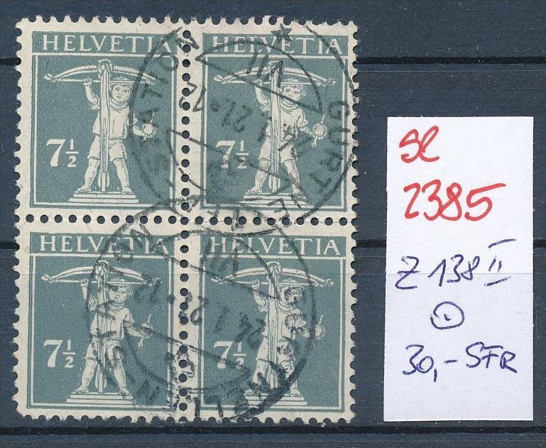 Schweiz Nr. 4x 138 II    o (Zumstein Nr.+Preis !) ( se2385) siehe Bild !