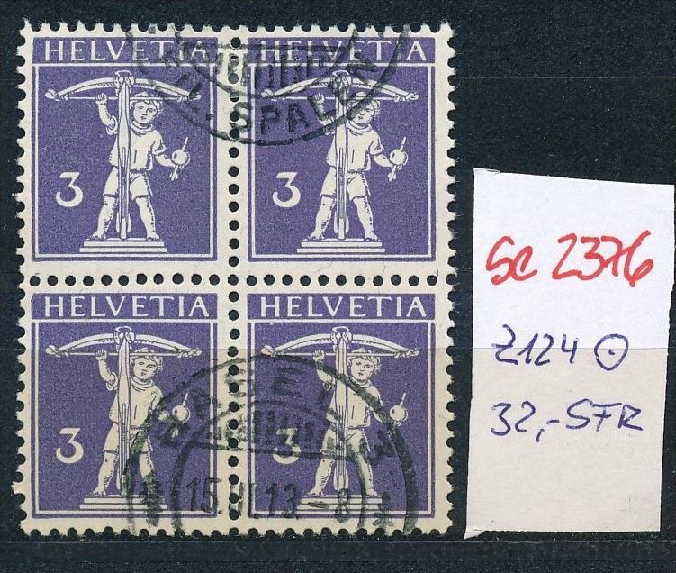 Schweiz Nr. 4x 124  o  (Zumstein Nr.+Preis !) ( se2376 ) siehe Bild !