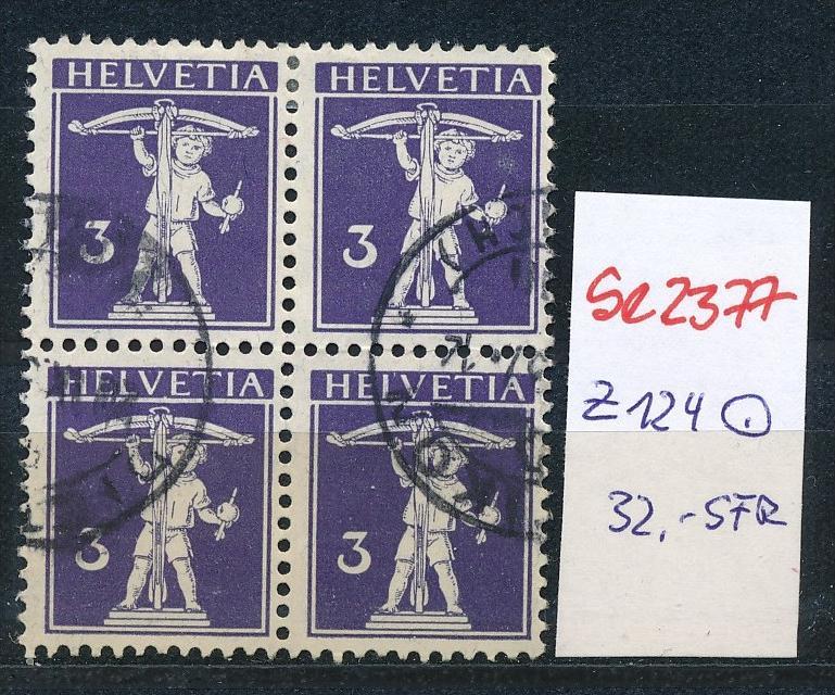 Schweiz Nr. 4x 124  o  (Zumstein Nr.+Preis !) ( se2377 ) siehe Bild !