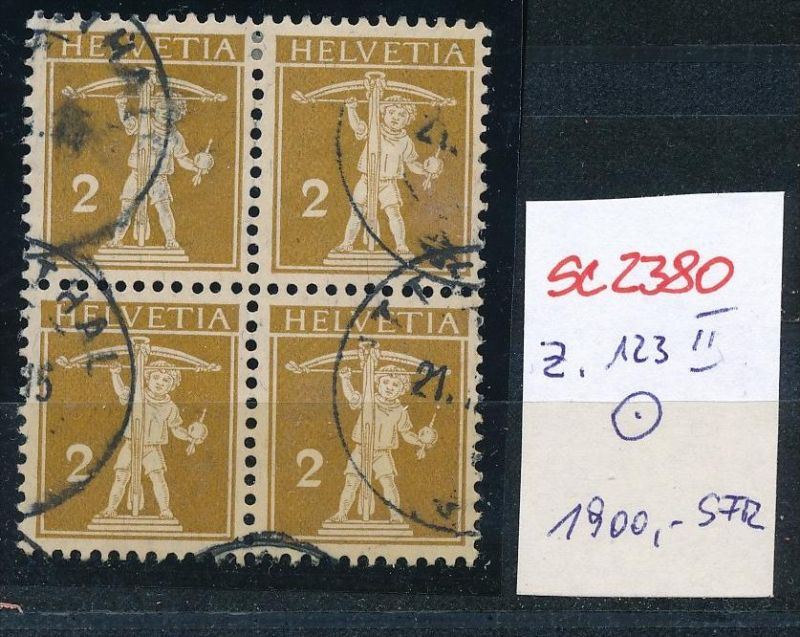 Schweiz Nr. 4x 123 II    o  (Zumstein Nr.+Preis !) ( se2380 ) siehe Bild !