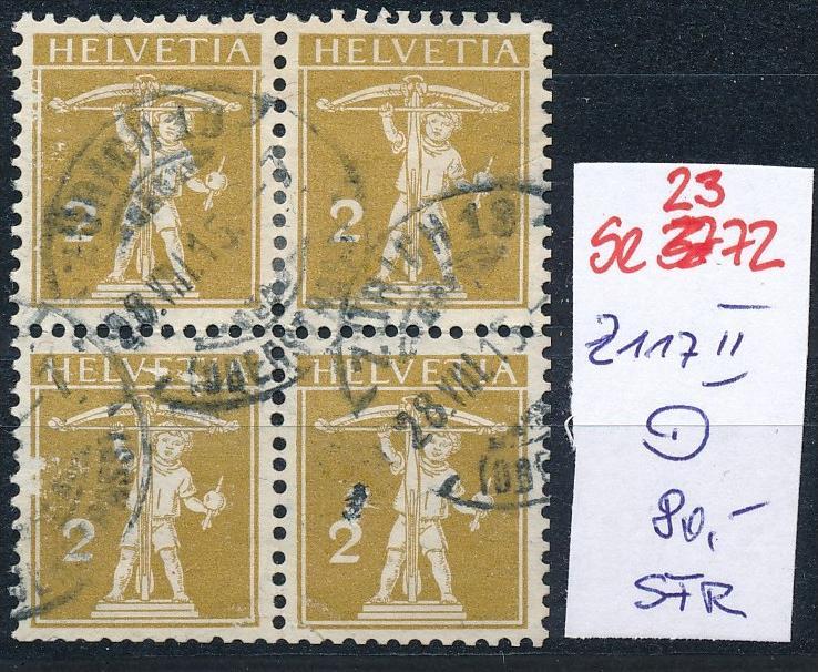 Schweiz Nr. 4x  117 II   o  (Zumstein Nr.+Preis !) ( se2372 ) siehe Bild !