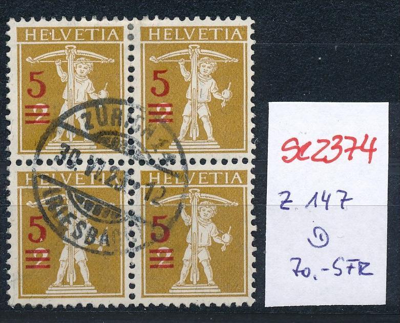 Schweiz Nr. 4x  147   o  (Zumstein Nr.+Preis !) ( se2374 ) siehe Bild !